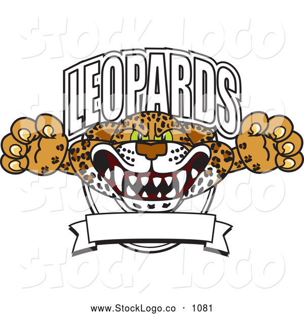 Vector Logo of a Frightening Leopards Character School Mascot Logo
