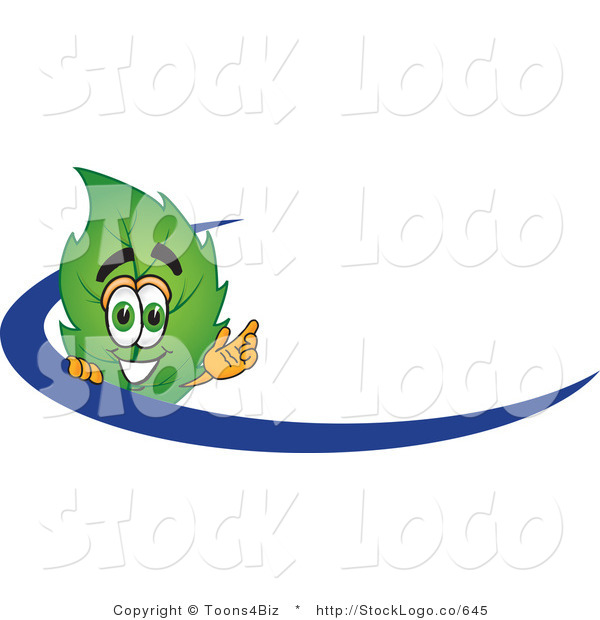 Vector Logo of a Green Leaf Mascot Cartoon Character Logo with a Blue Dash