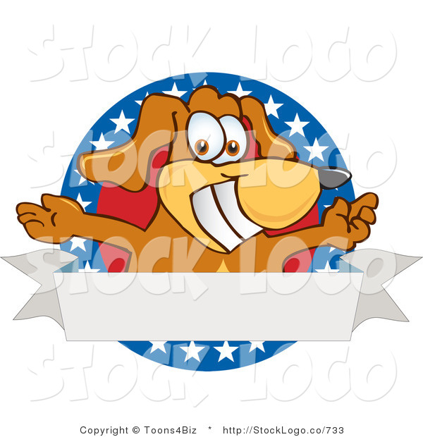 Vector Logo of a Grinning Brown Dog Mascot Cartoon Character with Open Arms with a Blank Label
