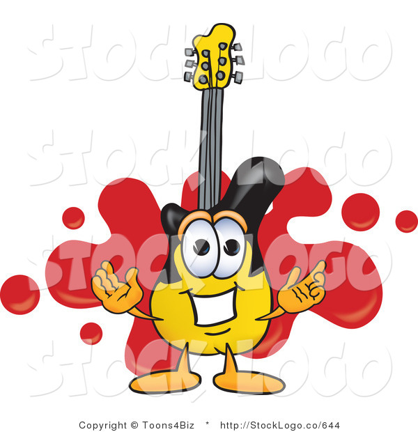 Vector Logo of a Guitar Mascot Cartoon Character Logo with a Red Paint Splatter Background