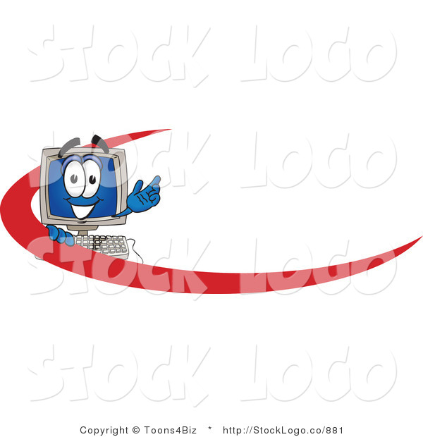Vector Logo of a Happy Desktop Computer Mascot Cartoon Character with a Red Dash on an Employee Nametag or Business Logo