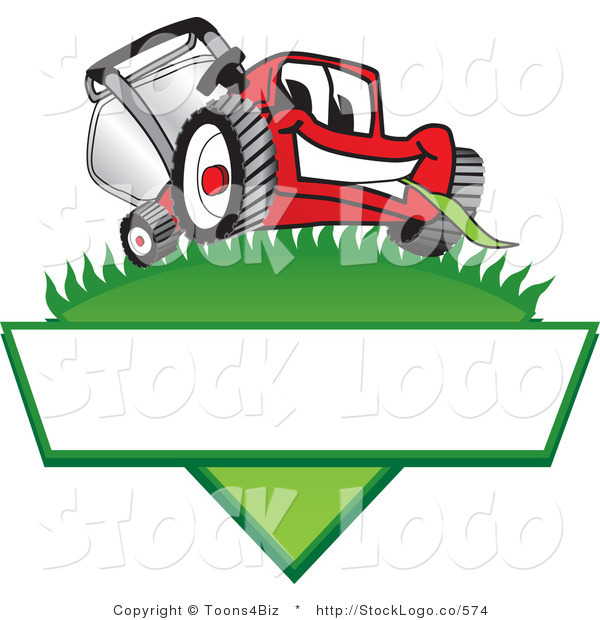 Vector Logo of a Happy Red Lawn Mower Mascot Cartoon Character on a Grassy Hill on a Blank Label