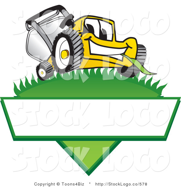 Vector Logo of a Happy Yellow Lawn Mower Mascot Cartoon Character on a Triangle Logo with a White Label