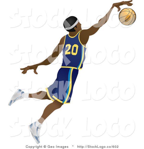 Vector Logo of a Male Black Basketball Athlete Jumping with the Ball in Hand