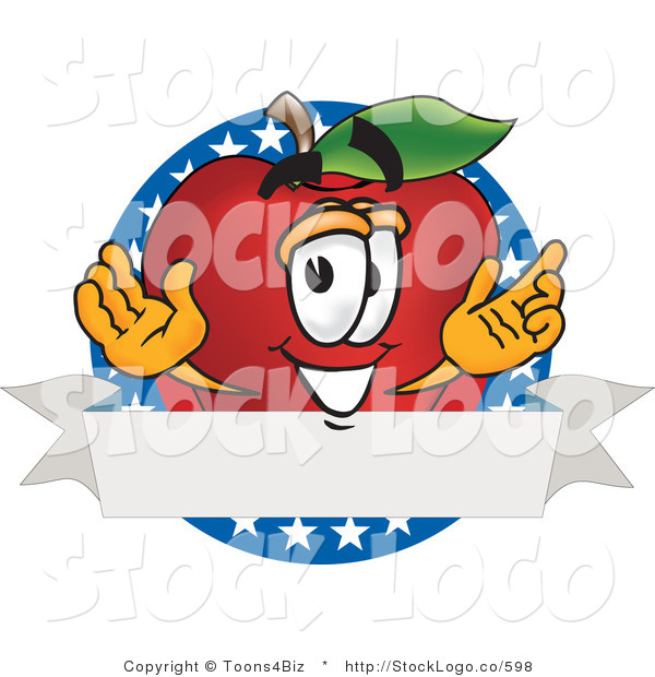 Vector Logo of a Nutritious Red Apple Character Mascot Logo with Stars