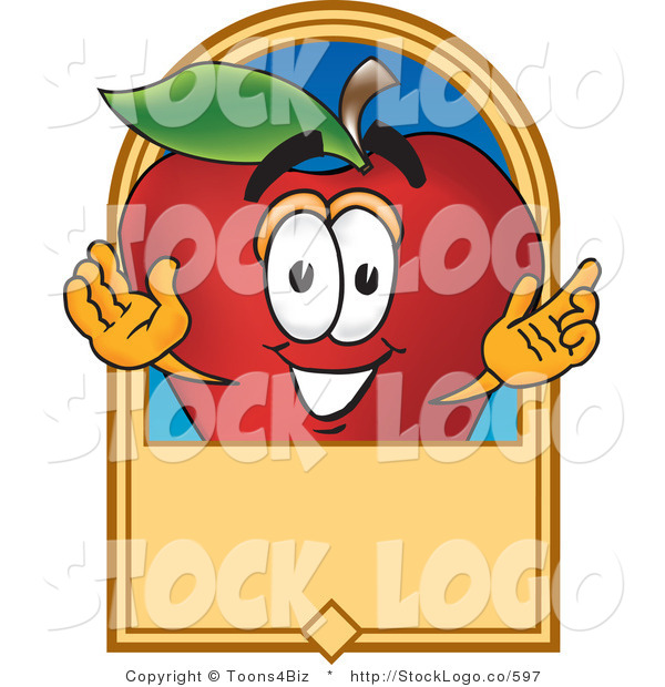 Vector Logo of a Nutritious Red Apple Character Mascot with a Blank Label
