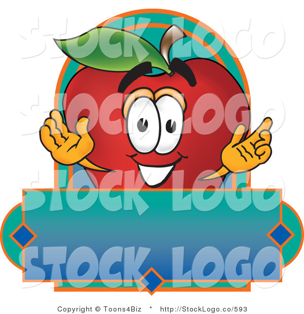 Vector Logo of a Nutritious Red Apple Character Mascot with a Blue Rectangle