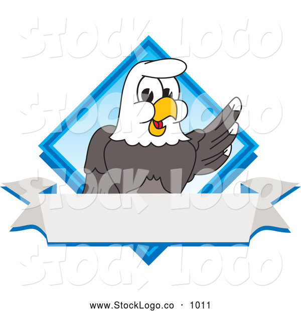 Vector Logo of a Patriotic Bald Eagle Character Diamond and Banner Logo
