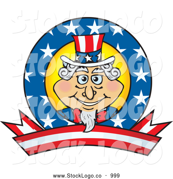 Vector Logo of a Patriotic Uncle Sam Logo with Stars and Stripes