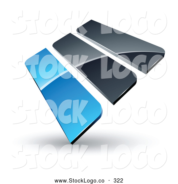 Vector Logo of a Pre-Made 3d Logo of Blue and Gray Bars