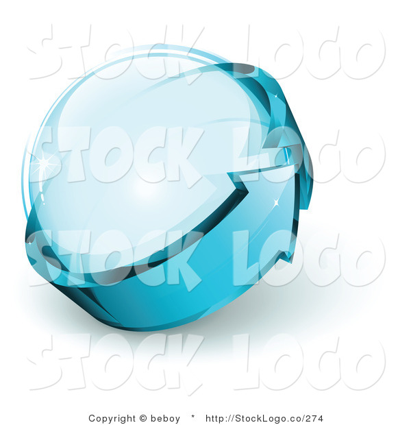 Vector Logo of a Pre-Made Global Logo of Blue Arrow Circling a Glass Sphere, with Space for a Business Name and Company Slogan