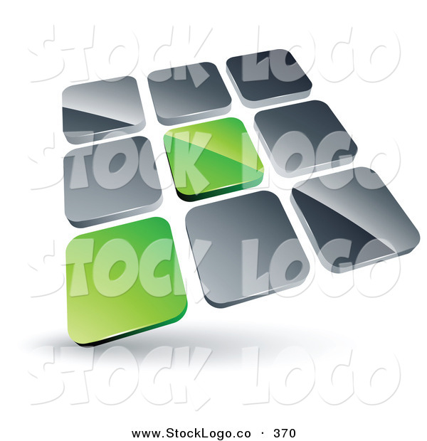 Vector Logo of a Pre-Made Logo of 2 Green Tiles Standing out from Rows of Silver Tiles