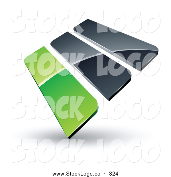 Vector Logo of a Pre-Made Logo of 3d Green and Gray Bars