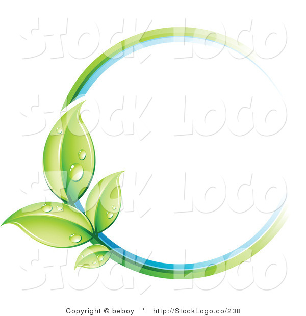 Vector Logo of a Pre-Made Logo of a Circle of Colors and Dewy Leaves Beside a Space for a Business Name and Company Slogan