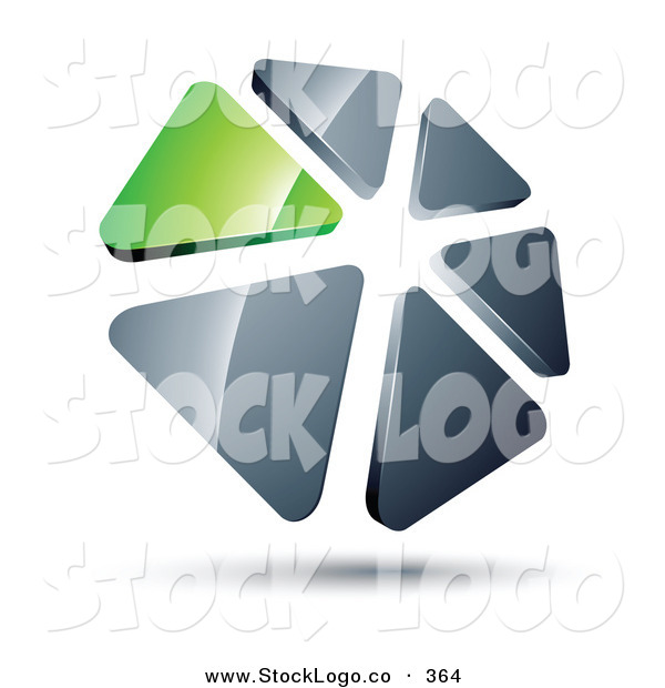 Vector Logo of a Pre-Made Logo of a Circle of Green and Silver Triangles over White