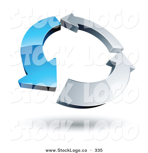 Vector Logo of a Pre-Made Logo of a Circle of One Blue Arrow and Two Chrome Arrow on White