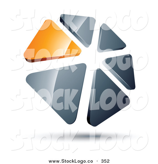 Vector Logo of a Pre-Made Logo of a Circle of Orange and Silver Triangles on White
