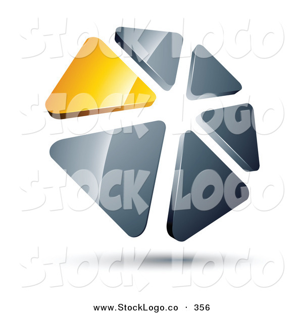 Vector Logo of a Pre-Made Logo of a Circle of Yellow and Silver Triangles on White