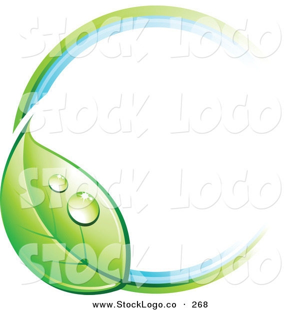 Vector Logo of a Pre-Made Logo of a Circle with a Dewy Green Leaf, with Empty Space for a Business Name and Company Slogan to the Right