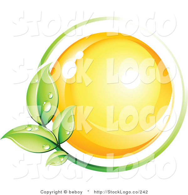 Vector Logo of a Pre-Made Logo of a Green Leafy Vine with Dew Drops Circling a Yellow Sphere with Space for a Business Name and Company Slogan