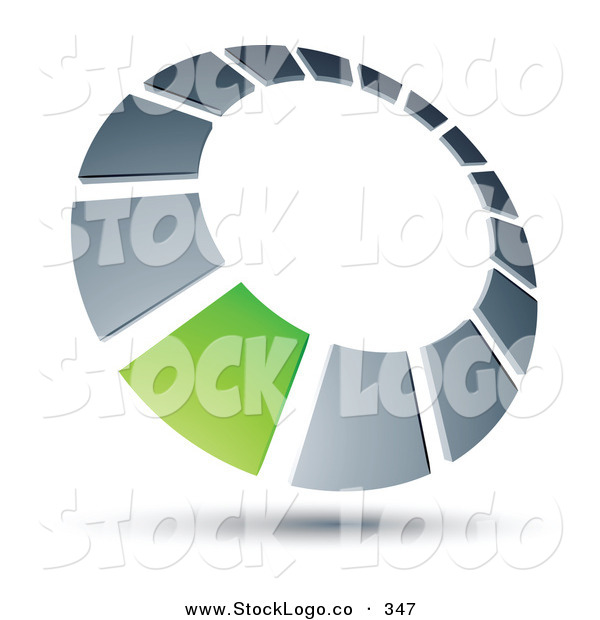 Vector Logo of a Pre-Made Logo of a Green Square in a Silver Dial, Above Space for a Business Name and Company Slogan
