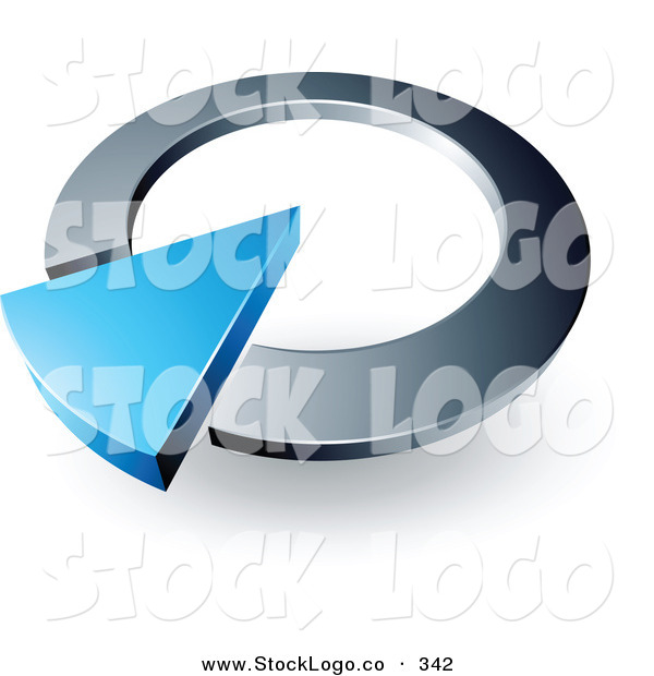 Vector Logo of a Pre-Made Logo of a Large Blue Arrow in a Silver Circular Dial, Above Space for a Business Name and Company Slogan