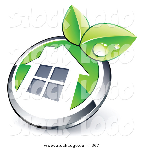 Vector Logo of a Pre-Made Logo of a Shiny Round Chrome and Green House Button with Leaves