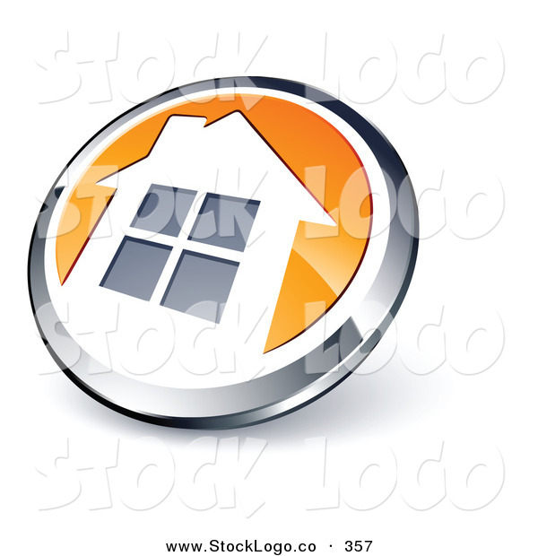 Vector Logo of a Pre-Made Logo of a Shiny Round Chrome and Orange Home Button on White