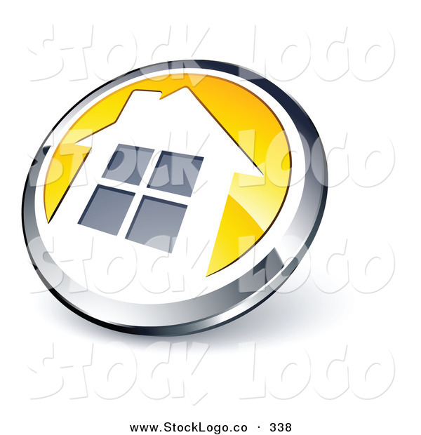 Vector Logo of a Pre-Made Logo of a Shiny Round Chrome and Yellow House Button