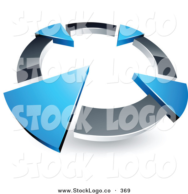 Vector Logo of a Pre-Made Logo of a Silver Circle with Four Blue Arrows Pointing Inwards