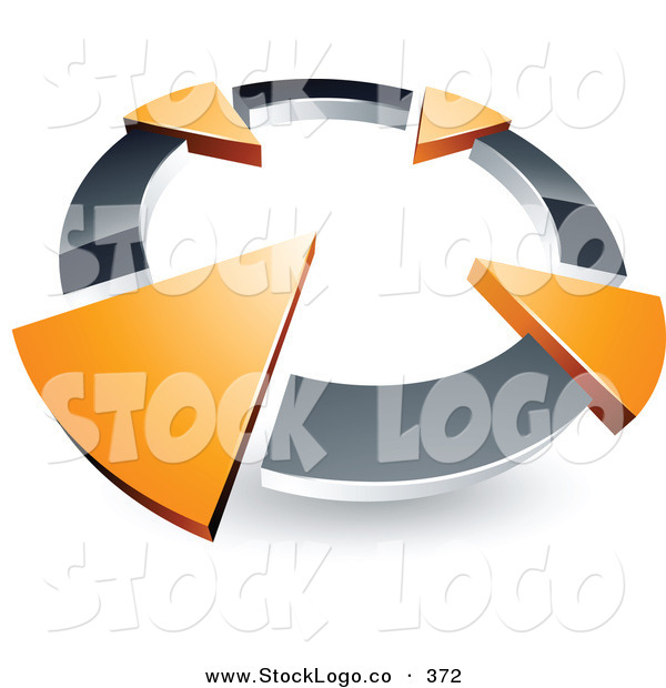 Vector Logo of a Pre-Made Logo of a Silver Circle with Four Orange Arrows Pointing Inwards
