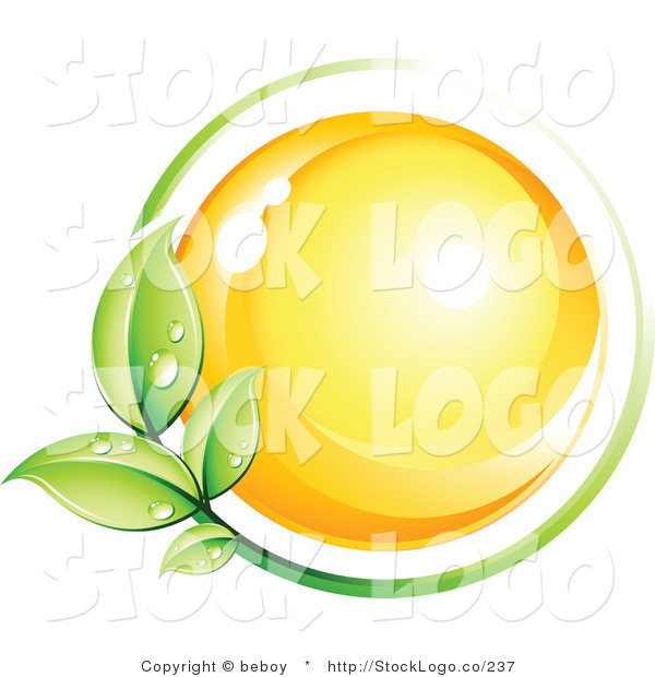 Vector Logo of a Pre-Made Logo of a Yellow Orb Circled by a Green Vine with Dew Drops Above a Space for a Business Name and Company Slogan