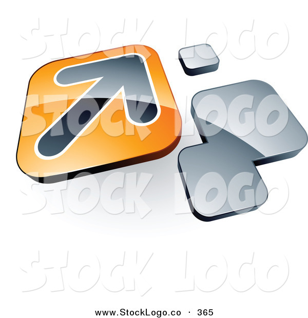Vector Logo of a Pre-Made Logo of an Arrow on an Orange Box near Orange Squares on White