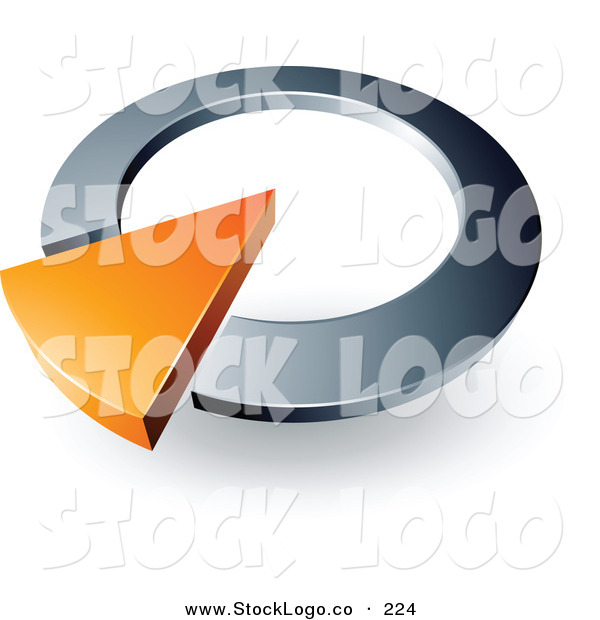 Vector Logo of a Pre-Made Logo of an Orange Arrow in a Silver Circular Dial, Above Space for a Business Name and Company Slogan on White