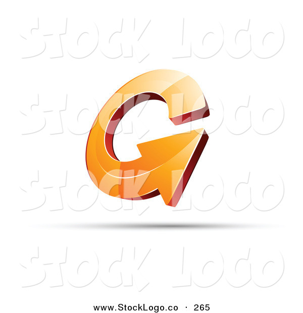 Vector Logo of a Pre-Made Logo of an Round Orange Circling Arrow, with Space for a Business Name and Company Slogan Below
