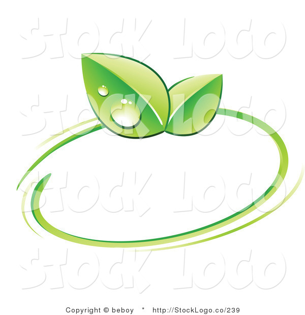 Vector Logo of a Pre-Made Logo of Green Leaves with Dew Drops and a Circle Around a Space for a Business Name and Company Slogan