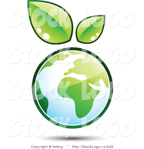 Vector Logo of a Pre-Made Logo of Leaves Sprouting from the Top of a Globe, to the Left of a Space for a Business Name and Company Slogan