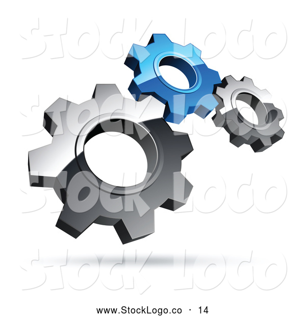 Vector Logo of a Pre-Made Logo of Silver and Blue Gears on White
