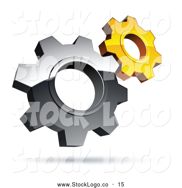 Vector Logo of a Pre-Made Logo of Silver and Yellow Interlocking Gear Cog Wheels