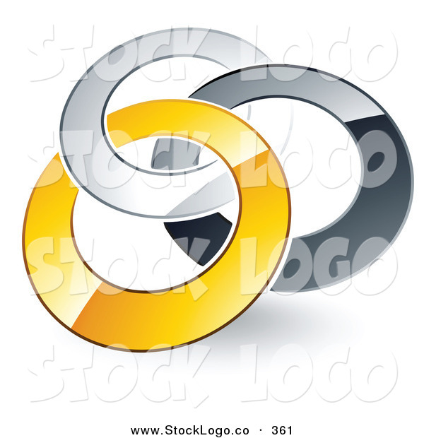 Vector Logo of a Pre-Made Logo of Silver, Gray and Yellow Rings Entwined on White