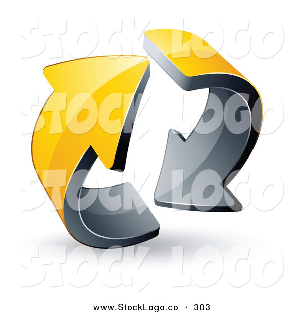 Vector Logo of a Pre-Made Logo of Two Circling Yellow and Black Arrows