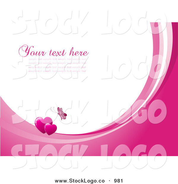 Vector Logo of a Pretty Pink Butterfly Above Two Hearts on Waves of Pink and White, Around White with Space for Text or a Business Name