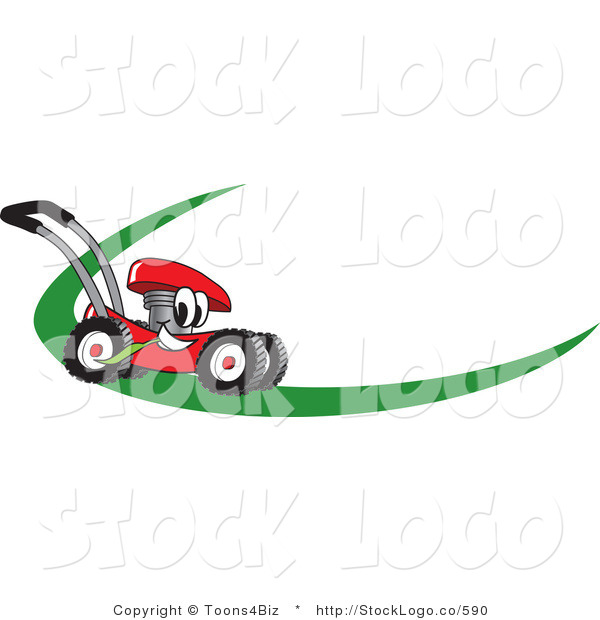 Vector Logo of a Red Lawn Mower Mascot Cartoon Character on a Logo or Nametag with a Green Swoop