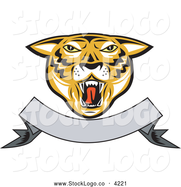 Vector Logo of a Roaring Tiger Head and Blank Banner Logo