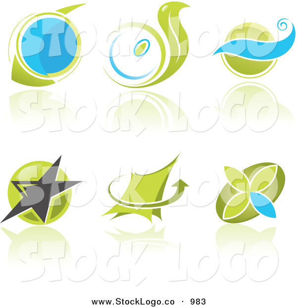 Vector Logo of a Set of 6 Bue and Green Business Logos with Circles, Waves, Stars and Arrows and Reflections.