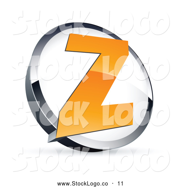 Vector Logo of a Shiny Letter Z in a Circle, Above Space for a Business Name and Company Slogan