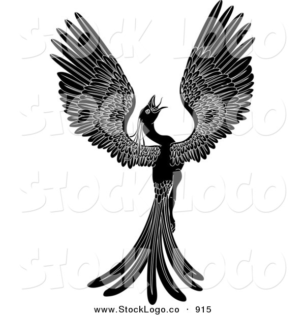Vector Logo of a Silhouetted Majestic Black Phoenix Fantasy Bird Opening Its Wings