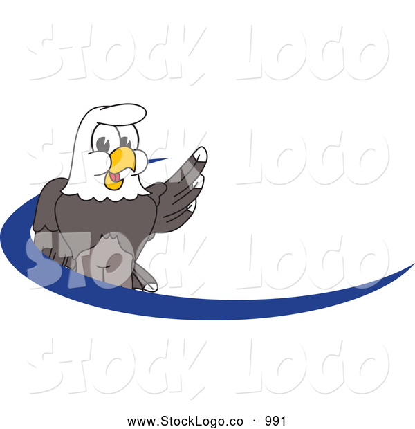 Vector Logo of a Smiling Bald Eagle Character Dash Logo