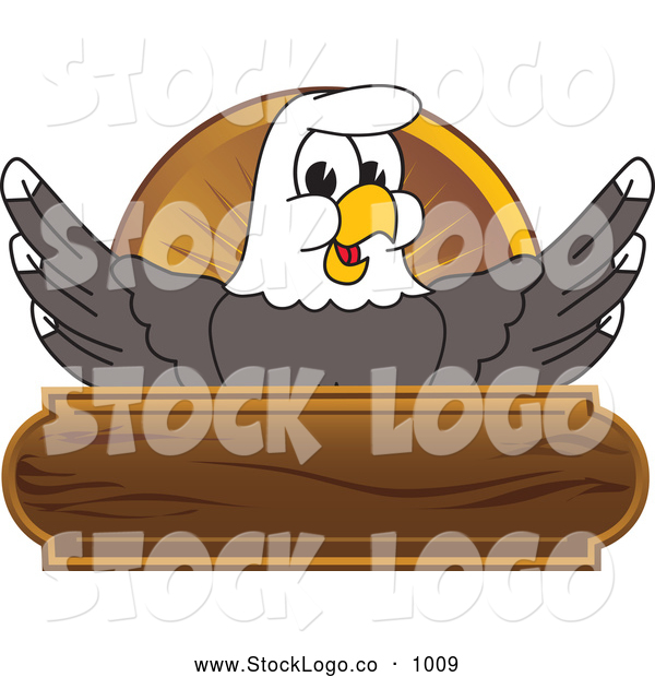 Vector Logo of a Smiling Bald Eagle Character Wooden Logo
