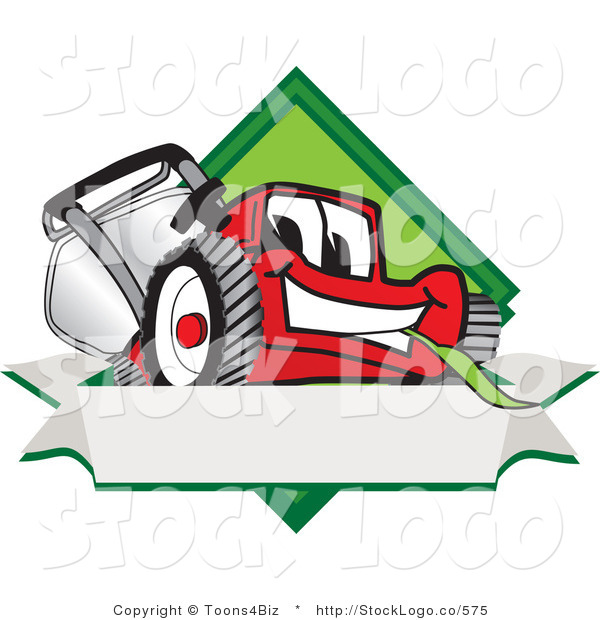 Vector Logo of a Smiling Red Lawn Mower Mascot Cartoon Character on a Blank Label